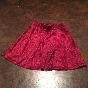 Red crush velvet skirt
